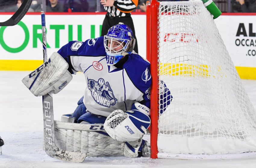 LAVAL, QC - JANUARY 24: Syracuse Crunch goalie Connor Ingram (39) tracks the play during the Syracuse Crunch versus the Laval Rocket game on January 24, 2018, at Place Bell in Laval, QC (Photo by David Kirouac/Icon Sportswire via Getty Images)