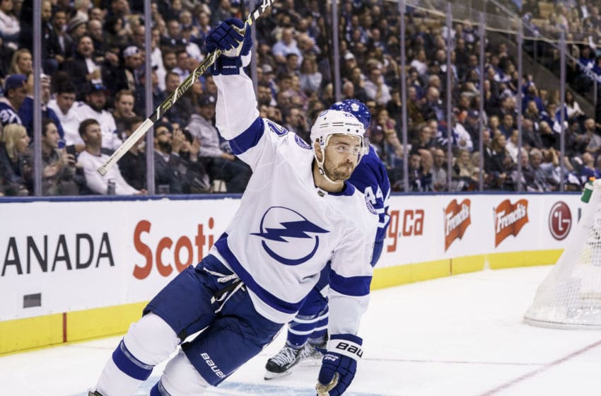 TORONTO, ON - OCTOBER 10: Kevin Shattenkirk #22 of the Tampa Bay Lightning celebrates his goal against the Toronto Maple Leafs during the first period at the Scotiabank Arena on October 10, 2019 in Toronto, Ontario, Canada. (Photo by Kevin Sousa/NHLI via Getty Images)