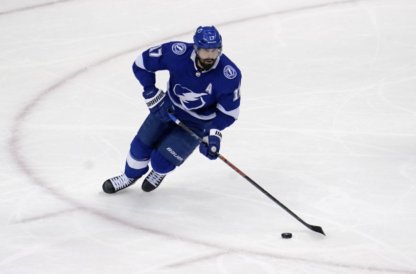 Aug 25, 2020; Toronto, Ontario, CAN; Tampa Bay Lightning center Alex Killorn (17) skates with the puck during the second period in game two of the second round of the 2020 Stanley Cup Playoffs against the Boston Bruins at Scotiabank Arena. Mandatory Credit: John E. Sokolowski-USA TODAY Sports