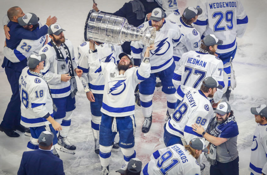 Sep 28, 2020; Edmonton, Alberta, CAN; Tampa Bay Lightning right wing Nikita Kucherov (86) hoists the Stanley Cup after defeating the Dallas Stars in game six of the 2020 Stanley Cup Final at Rogers Place. Mandatory Credit: Perry Nelson-USA TODAY Sports