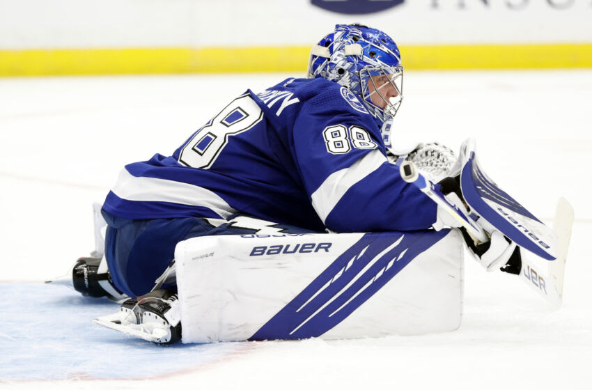 May 20, 2021; Tampa, Florida, USA; Tampa Bay Lightning goaltender Andrei Vasilevskiy (88) looks on against the Florida Panthers during the second period in game three of the first round of the 2021 Stanley Cup Playoffs at Amalie Arena. Mandatory Credit: Kim Klement-USA TODAY Sports