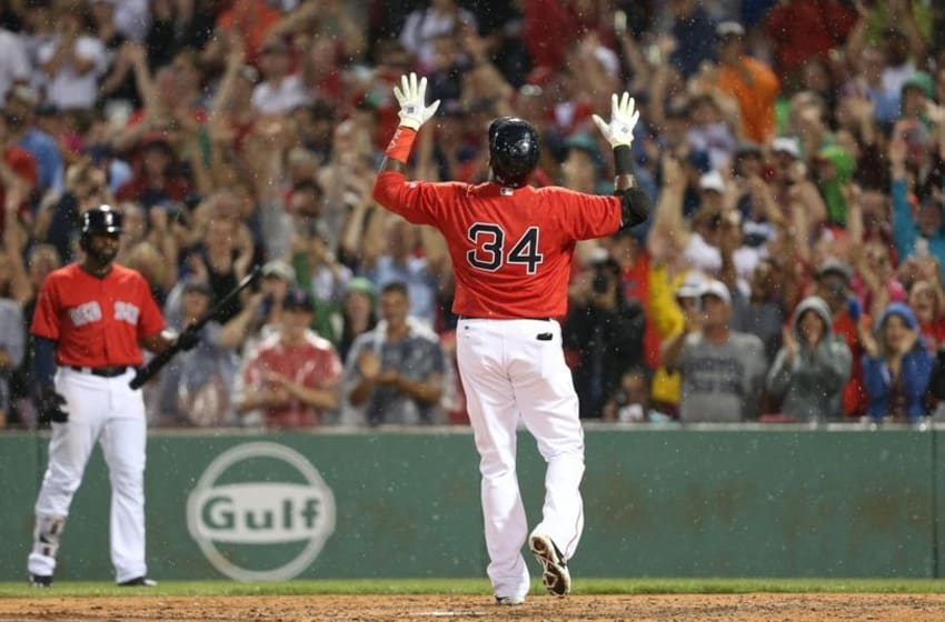 Jul 1, 2016; Boston, MA, USA; Boston Red Sox designated hitter David Ortiz (34) celebrates after hitting a home run against the Los Angeles Angels during the fifth inning at Fenway Park. Mandatory Credit: Mark L. Baer-USA TODAY Sports