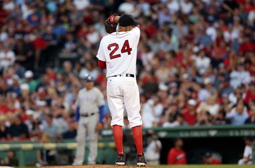 Jul 5, 2016; Boston, MA, USA; Boston Red Sox starting pitcher David Price (24) reacts during the third inning of a game against the Texas Rangers at Fenway Park. Mandatory Credit: Mark L. Baer-USA TODAY Sports