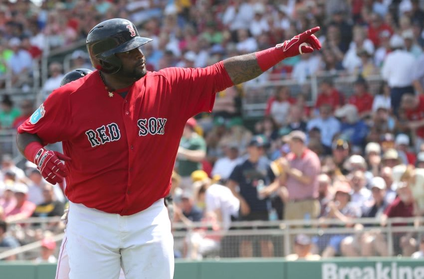 Mar 14, 2016; Fort Myers, FL, USA; Boston Red Sox third baseman Pablo Sandoval (48) celebrates as he points to the fans as he hit a solo home run during the first inning against the Pittsburgh Pirates at JetBlue Park. Mandatory Credit: Kim Klement-USA TODAY Sports