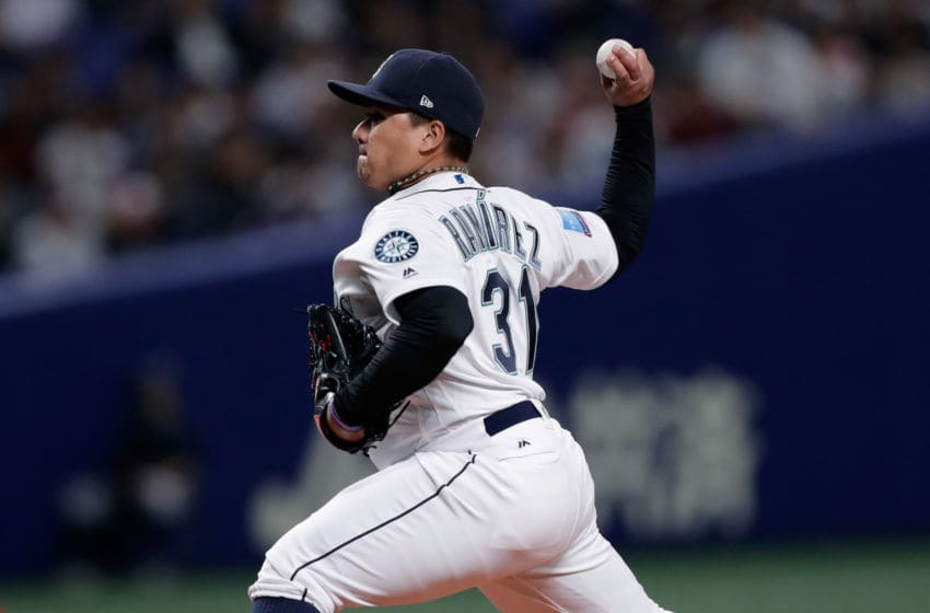 NAGOYA, JAPAN - NOVEMBER 15: Pitcher Erasmo Ramirez #31 of the Seattle Mariners throws in the top of 2nd inning during the game six between Japan and MLB All Stars at Nagoya Dome on November 15, 2018 in Nagoya, Aichi, Japan. (Photo by Kiyoshi Ota/Getty Images)