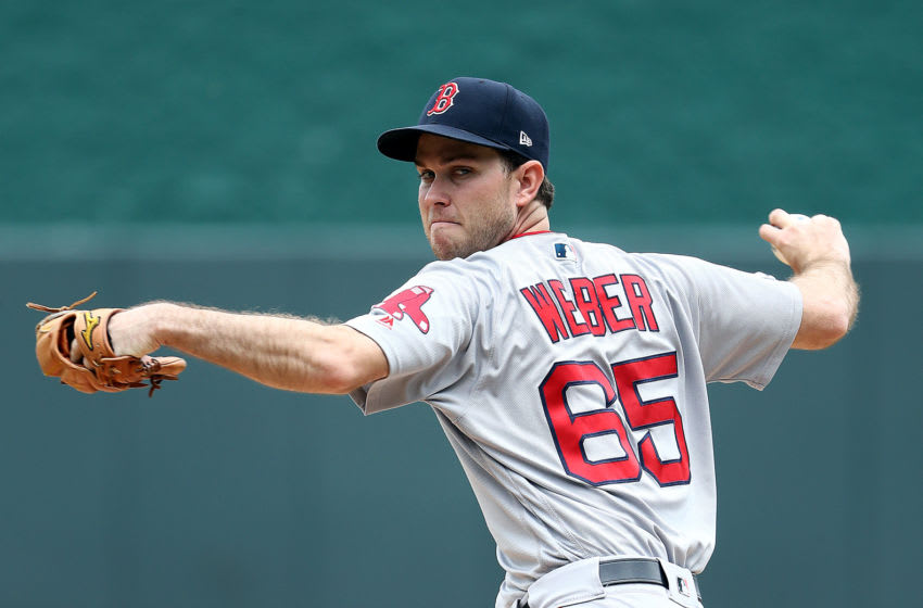 KANSAS CITY, MISSOURI - JUNE 06: Starting pitcher Ryan Weber #65 of the Boston Red Sox warms up just prior to the game against the Kansas City Royals at Kauffman Stadium on June 06, 2019 in Kansas City, Missouri. (Photo by Jamie Squire/Getty Images)