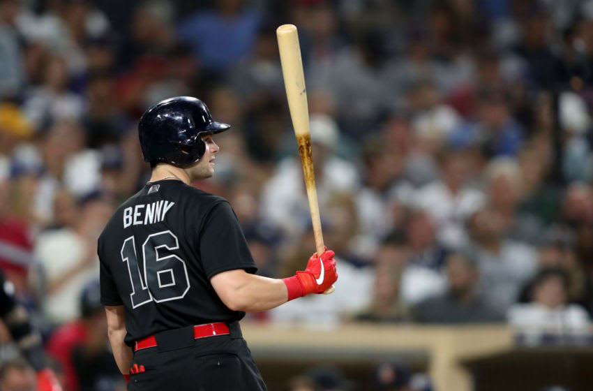 SAN DIEGO, CALIFORNIA - AUGUST 23: Andrew Benintendi #16 of the Boston Red Sox at bat during a game against the San Diego Padresat PETCO Park on August 23, 2019 in San Diego, California. Teams are wearing special color schemed uniforms with players choosing nicknames to display for Players' Weekend. (Photo by Sean M. Haffey/Getty Images)