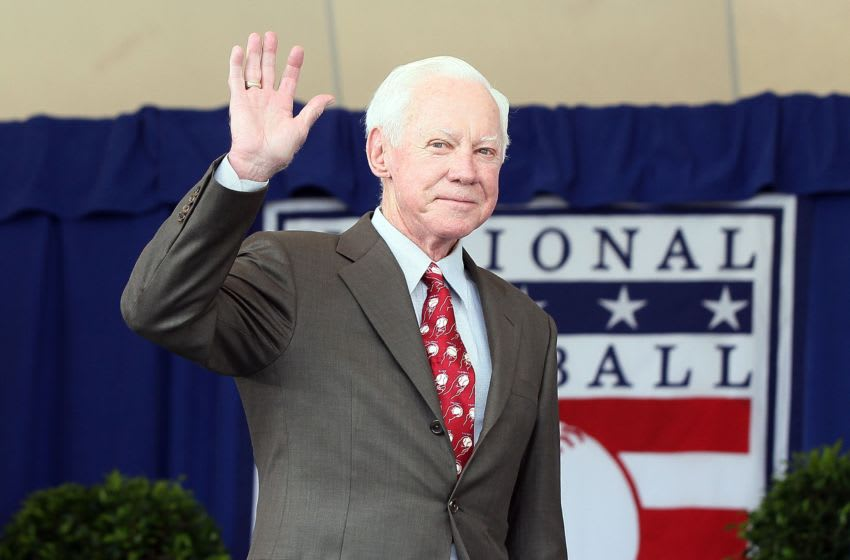 COOPERSTOWN, NY - JULY 24: Hall of Famer Whitey Ford is introduced at Clark Sports Center during the Baseball Hall of Fame induction ceremony on July 24, 2011 in Cooperstown, New York. (Photo by Jim McIsaac/Getty Images)