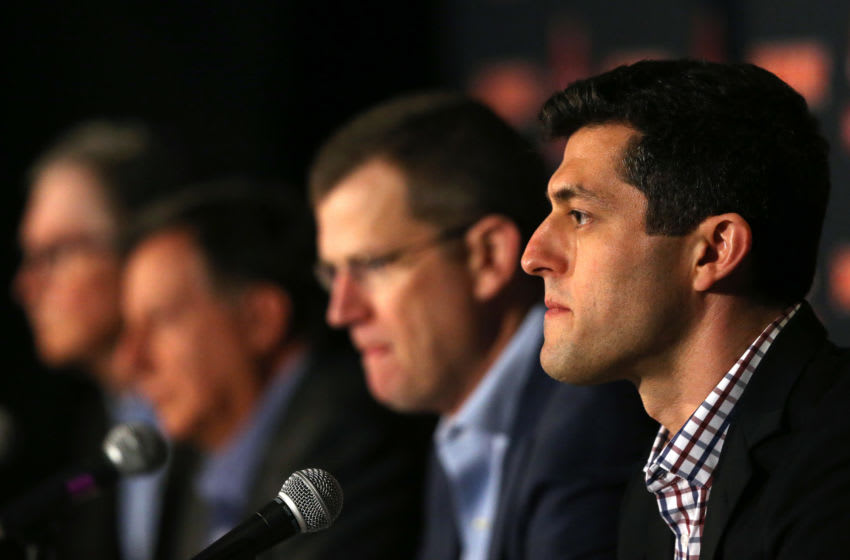 BOSTON, MASSACHUSETTS - JANUARY 15: Red Sox Chief Baseball Officer Chaim Bloom addresses the departure of Alex Cora as manager of the Boston Red Sox during a press conference at Fenway Park on January 15, 2020 in Boston, Massachusetts. A MLB investigation concluded that Cora was involved in the Houston Astros sign stealing operation in 2017 while he was the bench coach. (Photo by Maddie Meyer/Getty Images)