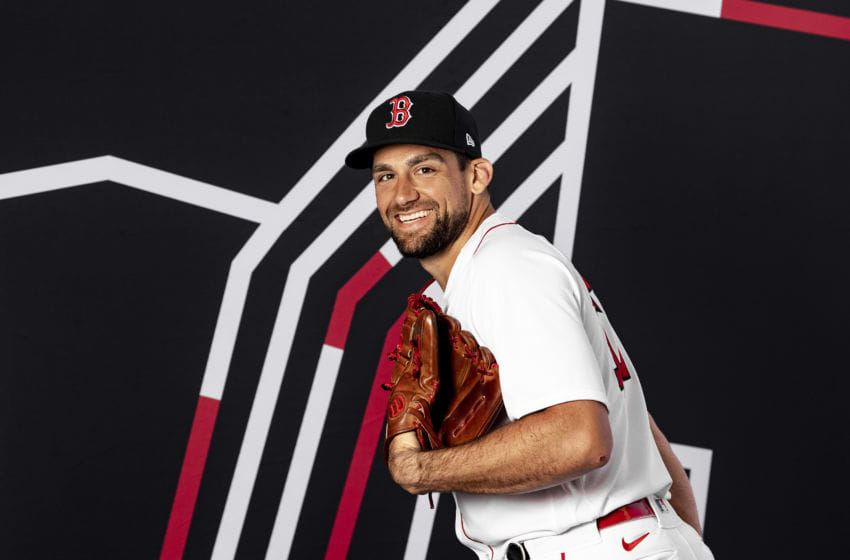 FT. MYERS, FL - FEBRUARY 19: Nathan Eovaldi #17 of the Boston Red Sox poses for a portrait during team photo day on February 19, 2020 at jetBlue Park at Fenway South in Fort Myers, Florida. (Photo by Billie Weiss/Boston Red Sox/Getty Images)