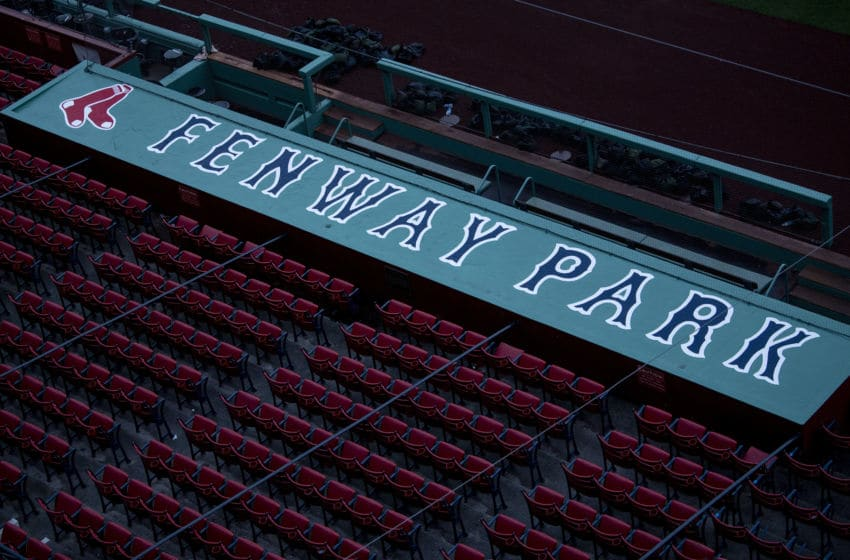 BOSTON, MA - APRIL 2: The dugout is shown as the sun rises over Fenway Park on what would have been the home opening day for the Boston Red Sox against the Chicago White Sox at Fenway Park on April 2, 2020 at Fenway Park in Boston, Massachusetts. The game was postponed due to the coronavirus pandemic. (Photo by Billie Weiss/Boston Red Sox/Getty Images)