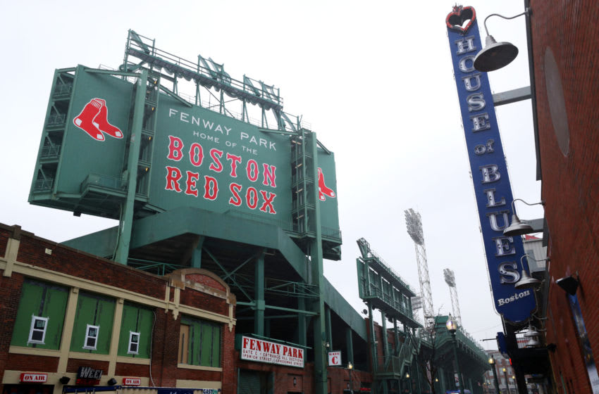 BOSTON, MASSACHUSETTS - MARCH 19: A view outside of Fenway Park on March 19, 2020 in Boston, Massachusetts. The NBA, NHL, NCAA and MLB have all announced cancellations or postponements of events because of the COVID-19. (Photo by Maddie Meyer/Getty Images)