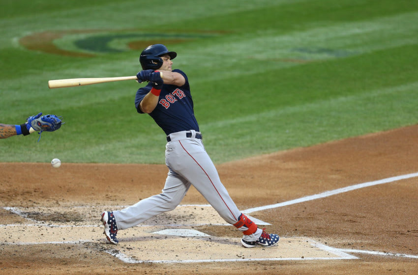 NEW YORK, NEW YORK - JULY 30: Andrew Benintendi #16 of the Boston Red Sox in action against the New York Mets at Citi Field on July 30, 2020 in New York City. Boston Red Sox defeated the New York Mets 4-2. (Photo by Mike Stobe/Getty Images)