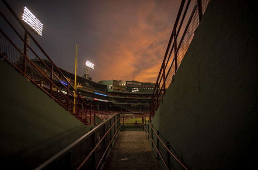 BOSTON, MA - AUGUST 13: A general view as the sun sets during a game between the Boston Red Sox and the Tampa Bay Rays on August 13, 2020 at Fenway Park in Boston, Massachusetts. The 2020 season had been postponed since March due to the COVID-19 pandemic. (Photo by Billie Weiss/Boston Red Sox/Getty Images)