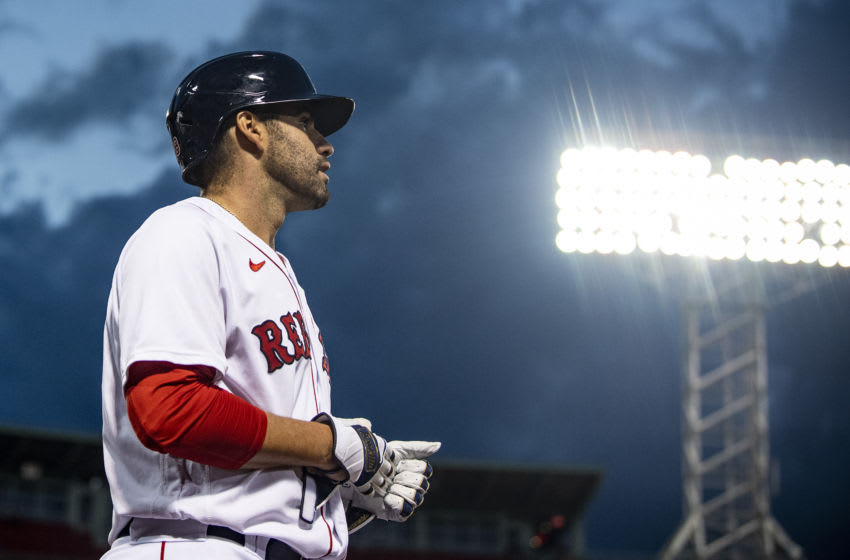 BOSTON, MA - AUGUST 18: J.D. Martinez #28 of the Boston Red Sox looks on during the first inning of a game against the Philadelphia Phillies on August 18, 2020 at Fenway Park in Boston, Massachusetts. The 2020 season had been postponed since March due to the COVID-19 pandemic. (Photo by Billie Weiss/Boston Red Sox/Getty Images)