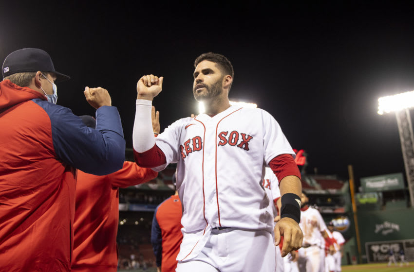 BOSTON, MA - APRIL 6: J.D. Martinez #28 of the Boston Red Sox reacts after hitting a game winning walk-off single during the twelfth inning against the Tampa Bay Rays on April 6, 2021 at Fenway Park in Boston, Massachusetts. (Photo by Billie Weiss/Boston Red Sox/Getty Images)