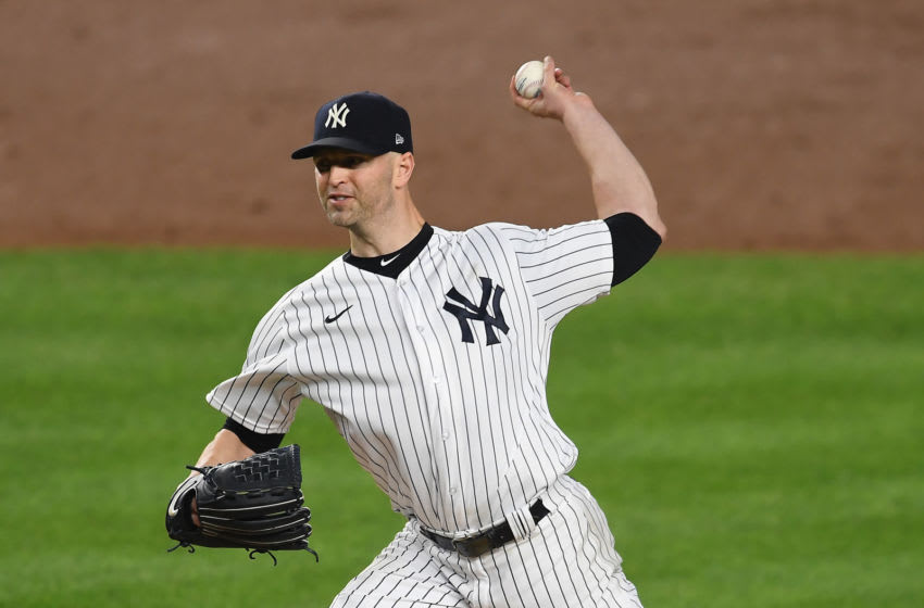 NEW YORK, NEW YORK - SEPTEMBER 25: J.A. Happ #33 of the New York Yankees pitches during the third inning against the Miami Marlins at Yankee Stadium on September 25, 2020 in the Bronx borough of New York City. (Photo by Sarah Stier/Getty Images)