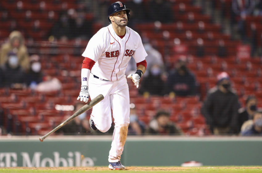 BOSTON, MA - APRIL 05: J.D. Martinez #28 of the Boston Red Sox hits a three-run home run in the eighth inning of a game against the Tampa Bay Rays at Fenway Park on April 5, 2021 in Boston, Massachusetts. (Photo by Adam Glanzman/Getty Images)