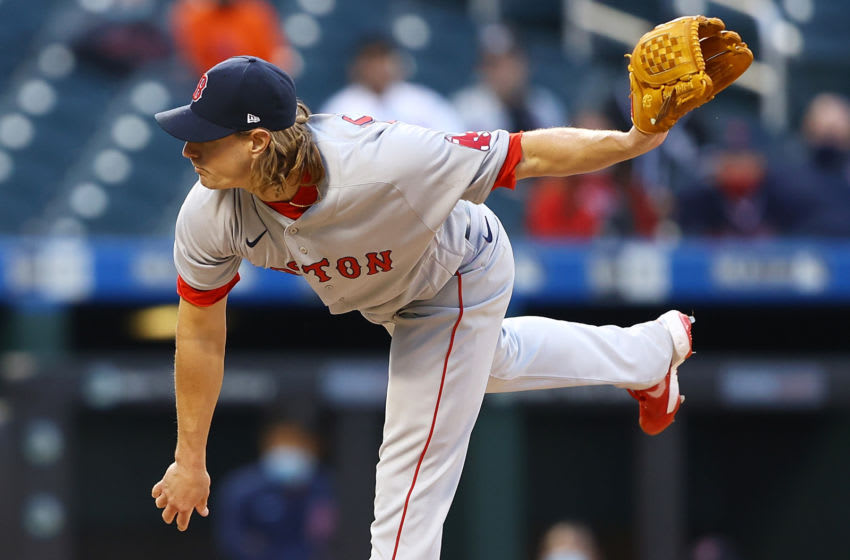 NEW YORK, NEW YORK - APRIL 27: Garrett Richards #43 of the Boston Red Sox pitches in the first inning against the New York Mets at Citi Field on April 27, 2021 in New York City. (Photo by Mike Stobe/Getty Images)