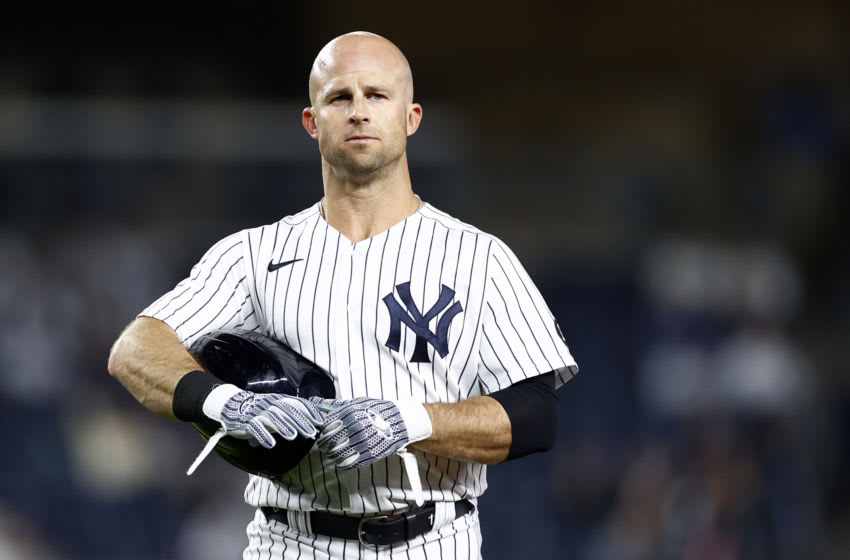 NEW YORK, NY - MAY 25: Brett Gardner #11 of the New York Yankees reacts against the Toronto Blue Jays during the seventh inning at Yankee Stadium on May 25, 2021 in the Bronx borough of New York City. (Photo by Adam Hunger/Getty Images)