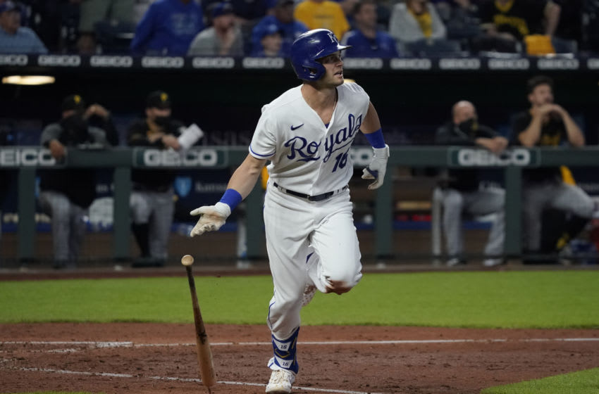 KANSAS CITY, MISSOURI - JUNE 01: Andrew Benintendi #16 of the Kansas City Royals hits a grand slam in the the fifth inning against the Pittsburgh Pirates at Kauffman Stadium on June 01, 2021 in Kansas City, Missouri. (Photo by Ed Zurga/Getty Images)