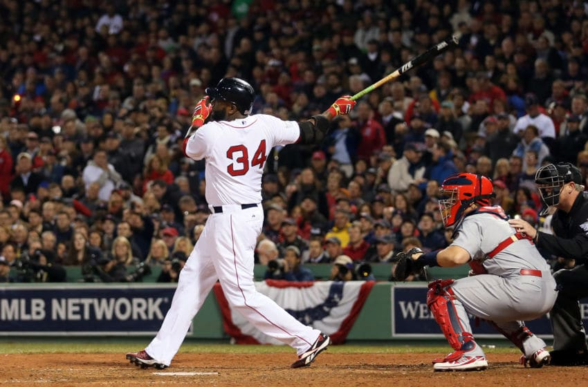 BOSTON, MA - OCTOBER 30: David Ortiz #34 of the Boston Red Sox in actions against the St. Louis Cardinals during Game Six of the 2013 World Series at Fenway Park on October 30, 2013 in Boston, Massachusetts. (Photo by Rob Carr/Getty Images)