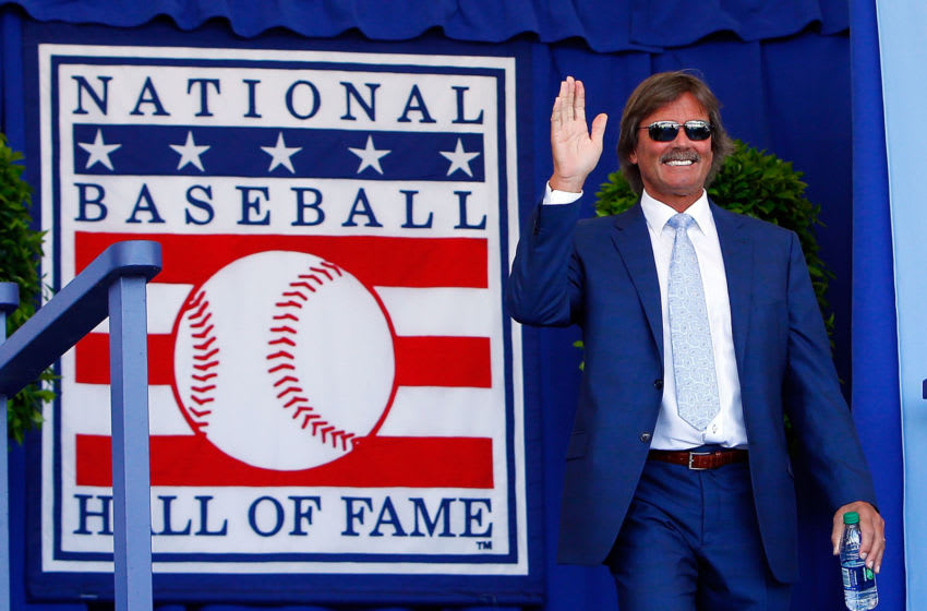 COOPERSTOWN, NY - JULY 24: Hall of Famer Dennis Eckersley is introduced at Clark Sports Center during the Baseball Hall of Fame induction ceremony on July 24, 2016 in Cooperstown, New York. (Photo by Jim McIsaac/Getty Images)