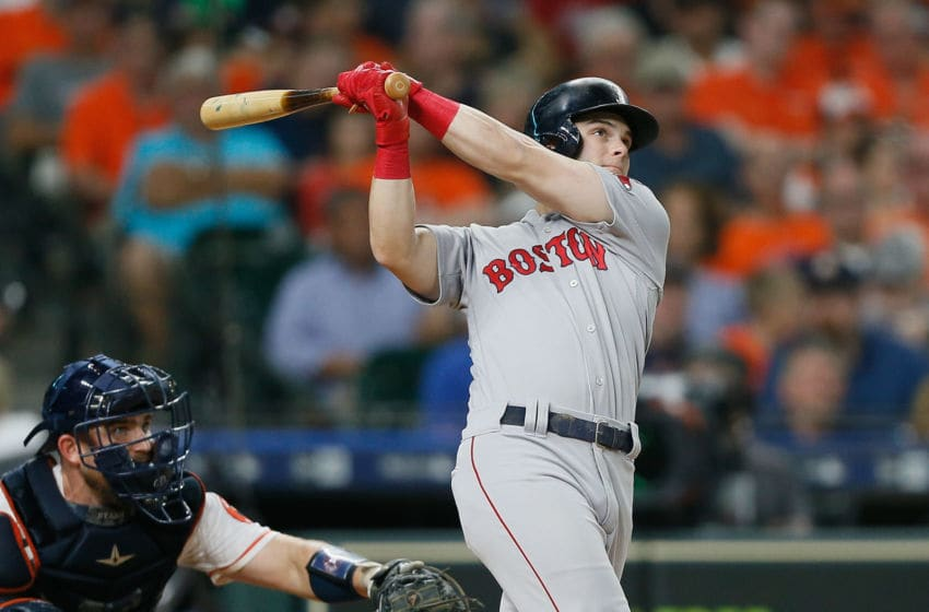 HOUSTON, TX - JUNE 03: Andrew Benintendi #16 of the Boston Red Sox hits a home run in the fifth inning against the Houston Astros at Minute Maid Park on June 3, 2018 in Houston, Texas. (Photo by Bob Levey/Getty Images)
