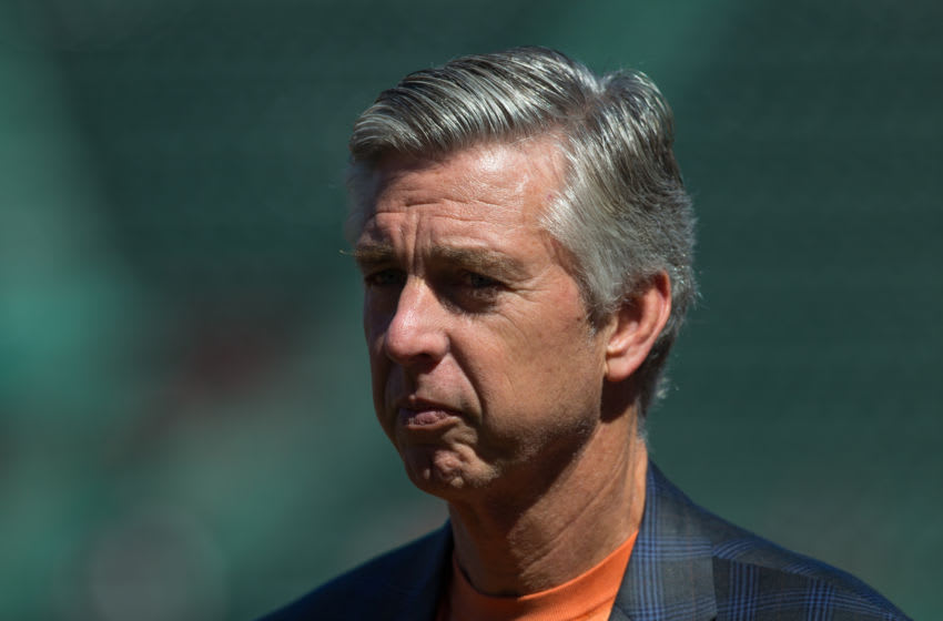 BOSTON, MA - SEPTEMBER 5: Dave Dombrowski the President of Baseball Operations for the Boston Red Sox watches batting practice before a game against the Philadelphia Phillies at Fenway Park on September 5, 2015 in Boston, Massachusetts. The Red Sox won 9-2. (Photo by Rich Gagnon/Getty Images)