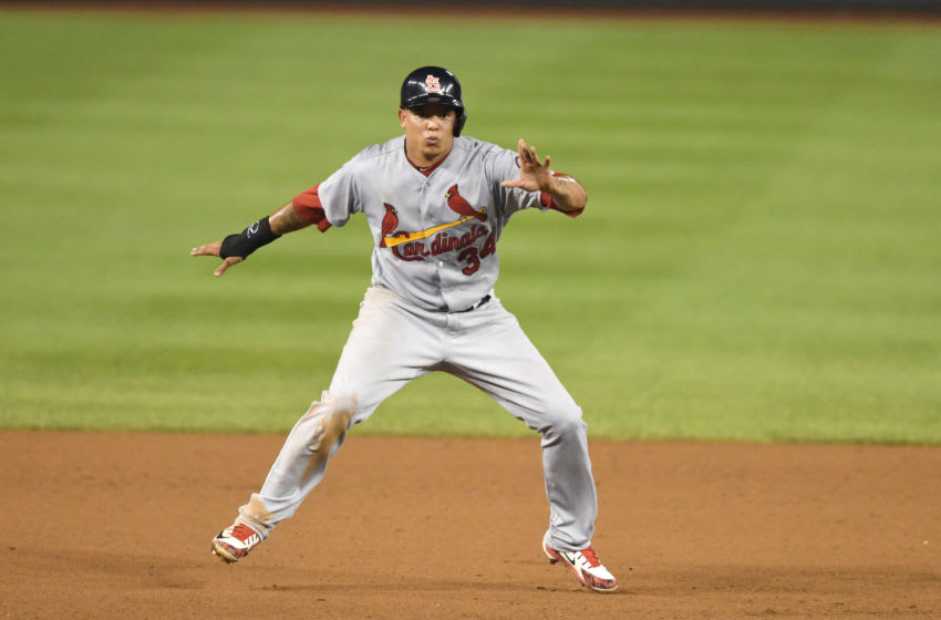 WASHINGTON, DC - SEPTEMBER 04: Yairo Munoz #34 of the St. Louis Cardinals leads off second base during a baseball game against the Washington Nationals at Nationals Park on September 4, 2018 in Washington, DC. (Photo by Mitchell Layton/Getty Images)
