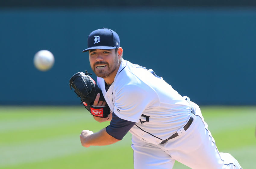 DETROIT, MI - APRIL 06: Matt Moore #51 of the Detroit Tigers throws a warm-up pitch during the game against the Kansas City Royals at Comerica Park on April 6, 2019 in Detroit, Michigan. The Tigers defeated the Royals 7-4. (Photo by Mark Cunningham/MLB Photos via Getty Images)