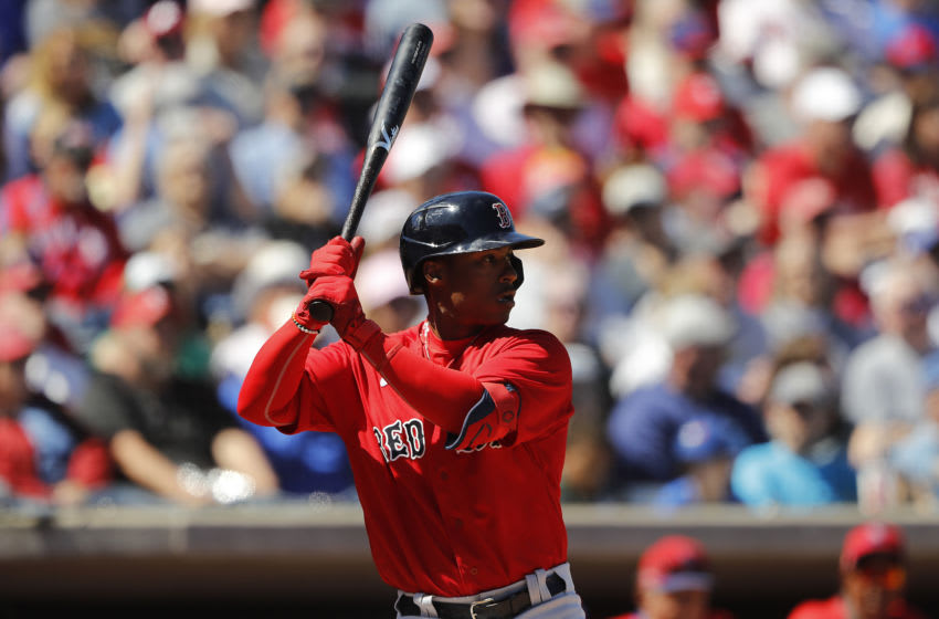 CLEARWATER, FLORIDA - MARCH 07: Jeter Downs #20 of the Boston Red Sox at bat against the Philadelphia Phillies during the fourth inning of a Grapefruit League spring training game on March 07, 2020 in Clearwater, Florida. (Photo by Michael Reaves/Getty Images)