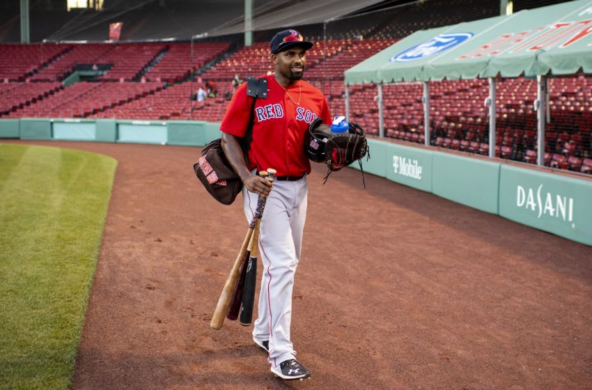 BOSTON, MA - JULY 20: Josh Ockimey of the Boston Red Sox reacts before an intrasquad game during a summer camp workout before the start of the 2020 Major League Baseball season on July 20, 2020 at Fenway Park in Boston, Massachusetts. The season was delayed due to the coronavirus pandemic. (Photo by Billie Weiss/Boston Red Sox/Getty Images)