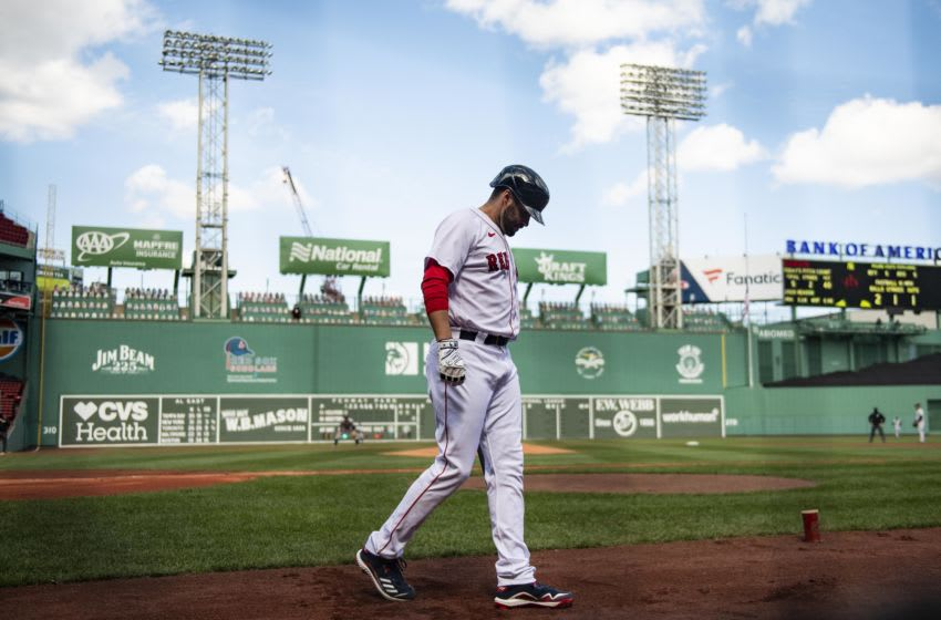 BOSTON, MA - SEPTEMBER 20: J.D. Martinez #28 of the Boston Red Sox warms up on deck during the first inning against the New York Yankees on September 20, 2020 at Fenway Park in Boston, Massachusetts. The 2020 season had been postponed since March due to the COVID-19 pandemic. (Photo by Billie Weiss/Boston Red Sox/Getty Images)