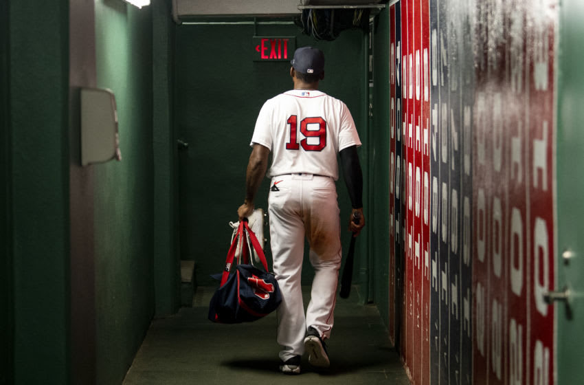 BOSTON, MA - SEPTEMBER 24: Jackie Bradley Jr. #19 of the Boston Red Sox exits the tunnel after a game against the Baltimore Orioles on September 24, 2020 at Fenway Park in Boston, Massachusetts. The 2020 season had been postponed since March due to the COVID-19 pandemic. (Photo by Billie Weiss/Boston Red Sox/Getty Images)