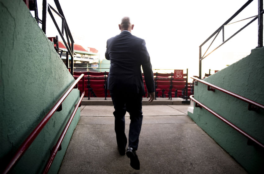 BOSTON, MA - NOVEMBER 10: Alex Cora walks to the field after a press conference introducing him as the manager of the Boston Red Sox on November 10, 2020 at Fenway Park in Boston, Massachusetts. (Photo by Billie Weiss/Boston Red Sox/Getty Images)