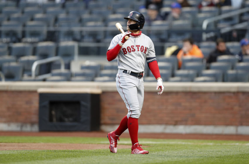 NEW YORK, NEW YORK - APRIL 27: (NEW YORK DAILIES OUT) Enrique Hernandez #5 of the Boston Red Sox in action against the New York Mets at Citi Field on April 27, 2021 in New York City. The Red Sox defeated the Mets 2-1. (Photo by Jim McIsaac/Getty Images)
