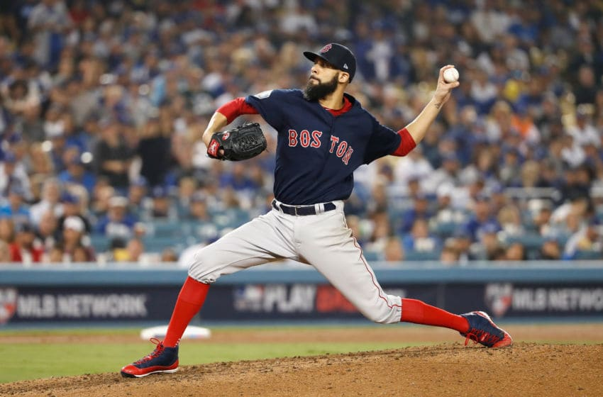 LOS ANGELES, CA - OCTOBER 28: David Price #24 of the Boston Red Sox delivers the pitch during the eighth inning against the Los Angeles Dodgers in Game Five of the 2018 World Series at Dodger Stadium on October 28, 2018 in Los Angeles, California. (Photo by Sean M. Haffey/Getty Images)