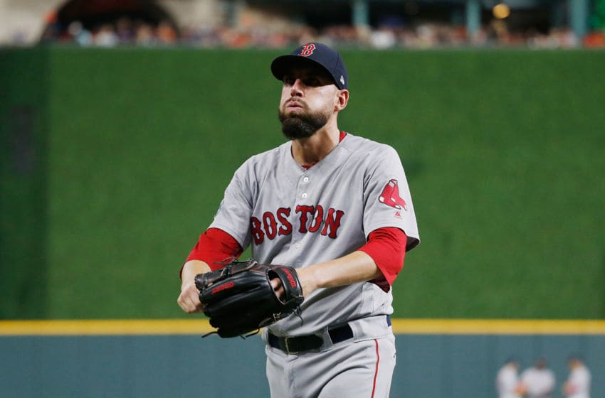 HOUSTON, TX - OCTOBER 18: Matt Barnes #32 of the Boston Red Sox leaves the game in the seventh inning against the Houston Astros during Game Five of the American League Championship Series at Minute Maid Park on October 18, 2018 in Houston, Texas. (Photo by Bob Levey/Getty Images)