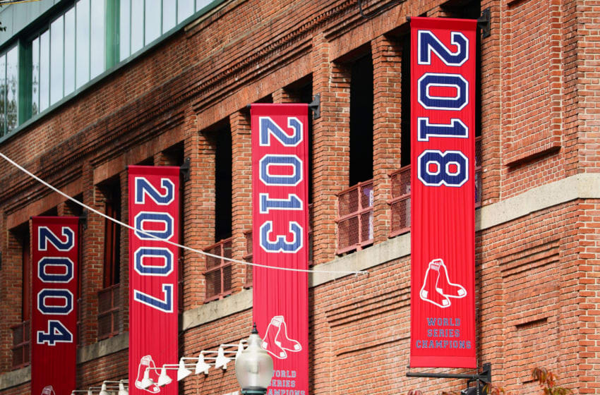 BOSTON, MA - OCTOBER 31: The Boston Red Sox 2018 World Series Championship banner hangs outside Fenway Park on October 31, 2018 in Boston, Massachusetts. (Photo by Omar Rawlings/Getty Images)