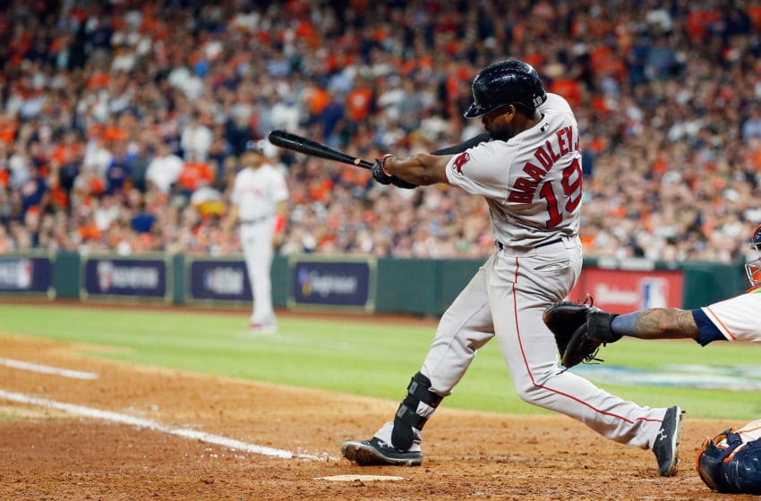 HOUSTON, TX - OCTOBER 17: Jackie Bradley Jr. #19 of the Boston Red Sox hits a two-run home run in the sixth inning against the Houston Astros during Game Four of the American League Championship Series at Minute Maid Park on October 17, 2018 in Houston, Texas. (Photo by Bob Levey/Getty Images)