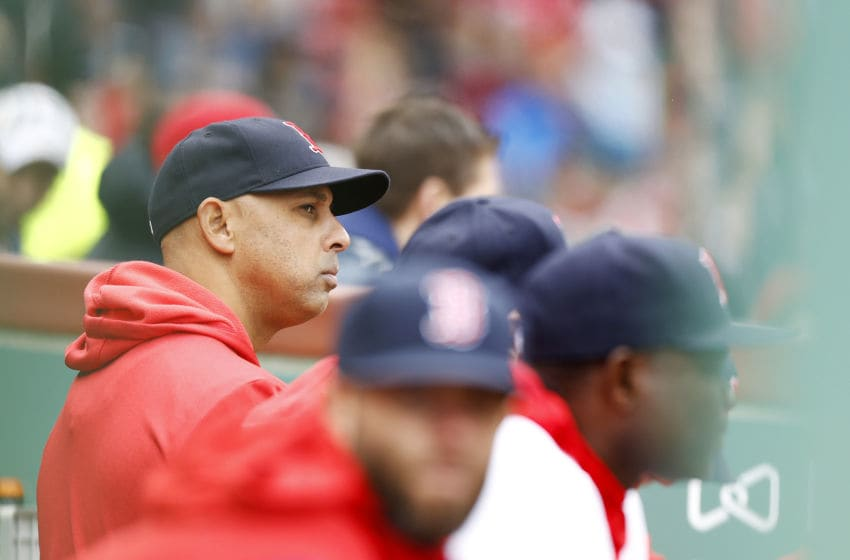 BOSTON, MASSACHUSETTS - APRIL 28: Manager Alex Cora #20 of the Boston Red Sox looks on during the ninth inning of the game against the Tampa Bay Rays at Fenway Park on April 28, 2019 in Boston, Massachusetts. (Photo by Omar Rawlings/Getty Images)