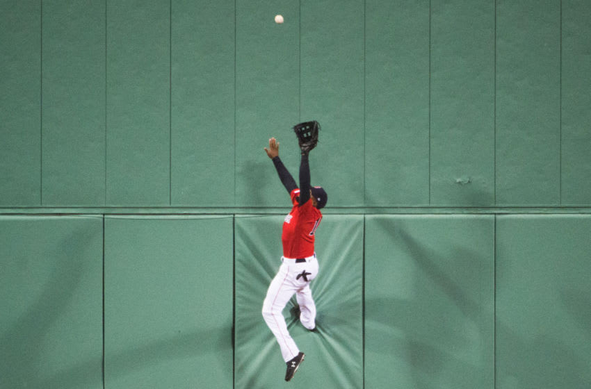BOSTON, MA - APRIL 12: Jackie Bradley Jr. #19 of the Boston Red Sox makes a leaping catch in the eighth inning agains the Baltimore Orioles at Fenway Park on April 12, 2019 in Boston, Massachusetts. (Photo by Kathryn Riley /Getty Images)