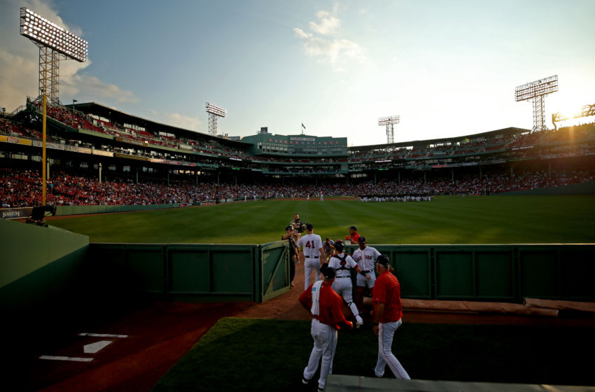 BOSTON, MA - AUGUST 1: Chris Sale #41 of the Boston Red Sox exits the bullpen before the game between the Boston Red Sox and the Cleveland Indians at Fenway Park on August 1, 2017 in Boston, Massachusetts. (Photo by Maddie Meyer/Getty Images)