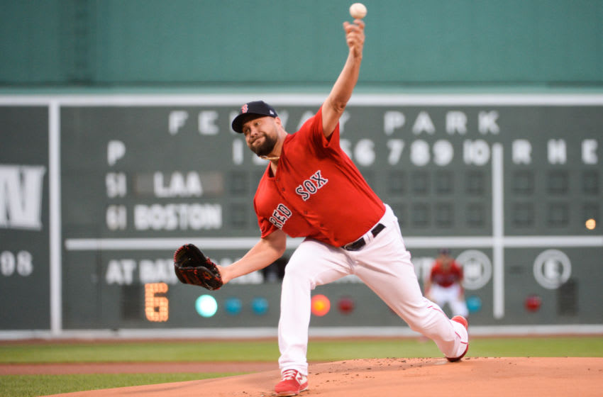 BOSTON, MA - AUGUST 9: Brian Johnson #61 of the Boston Red Sox pitches in the first inning against the Los Angeles Angels at Fenway Park on August 9, 2019 in Boston, Massachusetts. (Photo by Kathryn Riley/Getty Images)