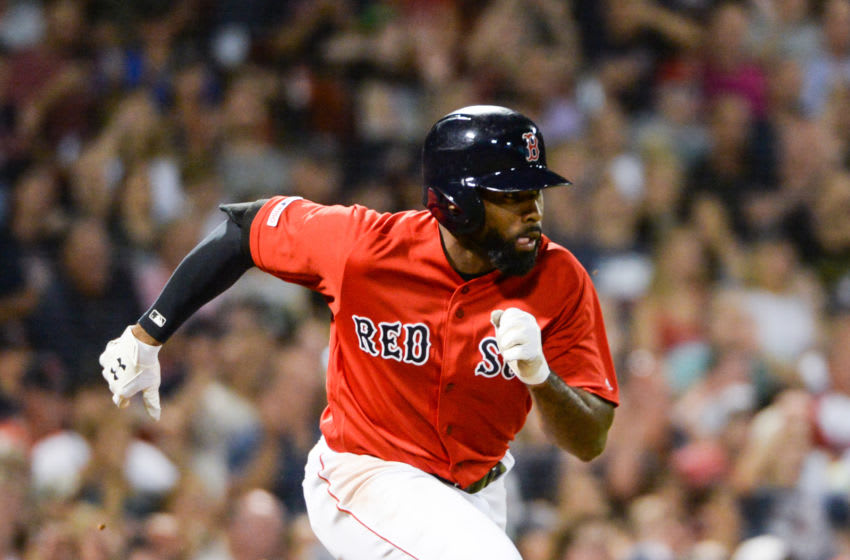 BOSTON, MA - AUGUST 9: Jackie Bradley Jr. #19 of the Boston Red Sox runs to first base after hitting a two RBI single in the sixth inning against the Los Angeles Angels at Fenway Park on August 9, 2019 in Boston, Massachusetts. (Photo by Kathryn Riley/Getty Images)
