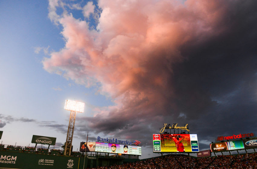 BOSTON, MA - AUGUST 9: The sun sets over Fenway Park in the first inning of the game between the Los Angeles Angels and the Boston Red Sox at Fenway Park on August 9, 2019 in Boston, Massachusetts. (Photo by Kathryn Riley/Getty Images)