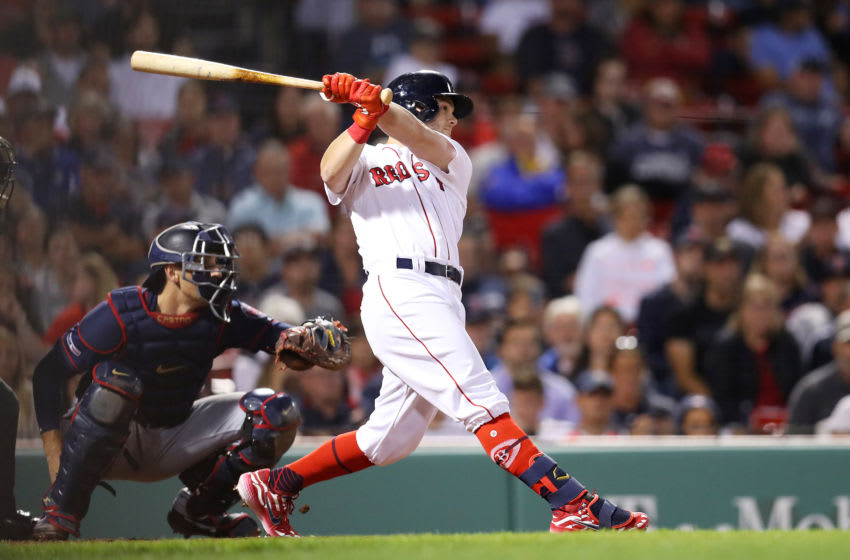 BOSTON, MASSACHUSETTS - SEPTEMBER 03: Andrew Benintendi #16 of the Boston Red Sox hits a home run during the eighth inning against the Minnesota Twins at Fenway Park on September 03, 2019 in Boston, Massachusetts. (Photo by Maddie Meyer/Getty Images)