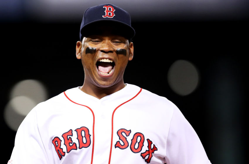 BOSTON, MASSACHUSETTS - SEPTEMBER 03: Rafael Devers #11 of the Boston Red Sox smiles during the ninth inning of the game against the Minnesota Twins at Fenway Park on September 03, 2019 in Boston, Massachusetts. The Twins defeat the Red Sox 6-5. (Photo by Maddie Meyer/Getty Images)