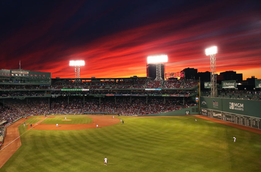 BOSTON, MASSACHUSETTS - SEPTEMBER 05: The sun sets behind Fenway Park during the second inning of the game between the Boston Red Sox and the Minnesota Twins on September 05, 2019 in Boston, Massachusetts. (Photo by Maddie Meyer/Getty Images)
